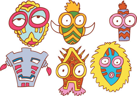 maschera tribale: set di maschera tribale Vettoriali