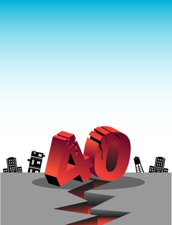 earthquake crack: over forty birthday earthquake Illustration