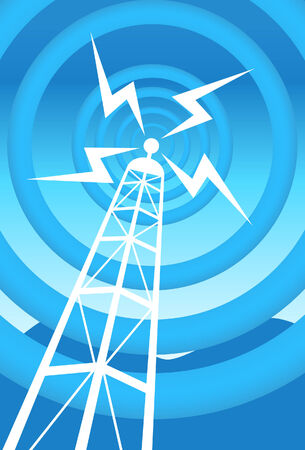 wireless communication: broadcasting tower blue