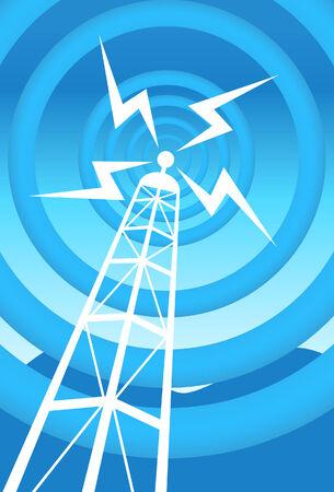 Radio toren blauw Stock Illustratie