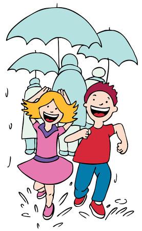 Running Rain Vector
