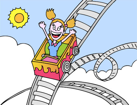 roller coaster girl Vector