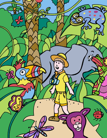 safari trip Ilustrace