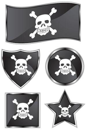 Pirate Flag Set Vector
