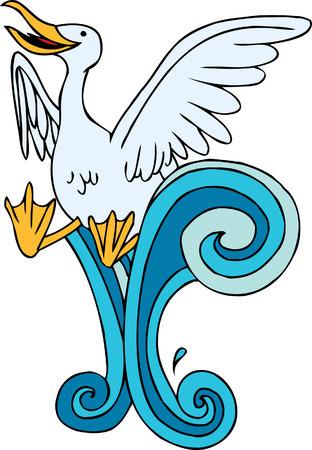 Seagull Swimming Illustration