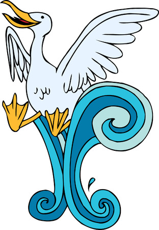 Seagull Swimming Ilustração