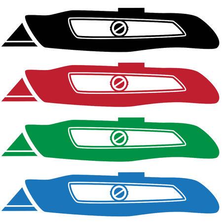 box cutter: icono de cuchillo de utilidad  Vectores