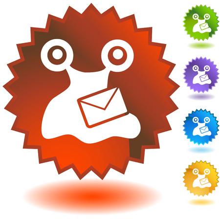 virus:  virus email badge two Illustration