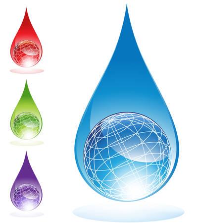 Globe water drop Stock Vector - 5552257