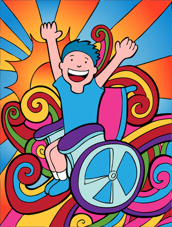 Happy Disabled Child Vector