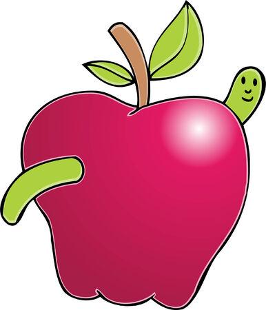 apple worm Vector