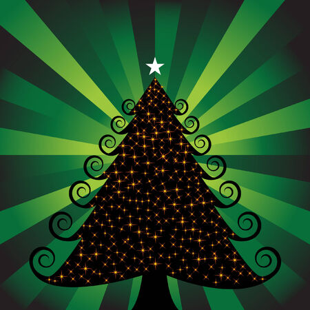 any size: Glowing Green Christmas Tree vector illustration image scalable to any size.