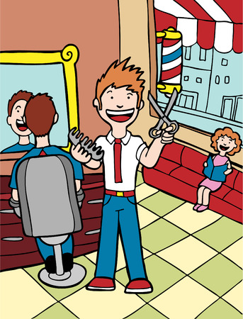 barbero: Salon de pelo  Vectores