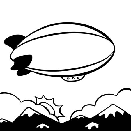 blimp: blimp cartoon line art
