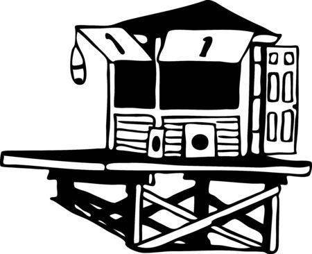 lifeguard tower drawing Illusztráció