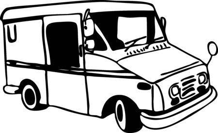 mail truck: mail truck drawing