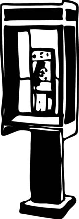 telephone booth: phone booth drawing Illustration