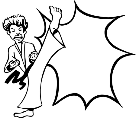 Karate Kick line art