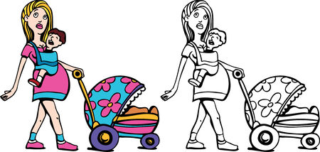 Young Pregnant Woman with Many Children art Vector