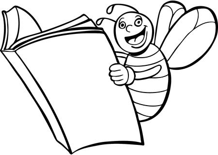 Bee Reading Book line art Vector