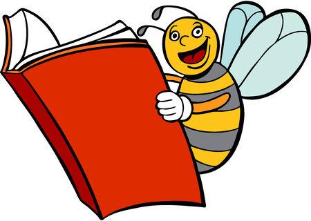Bee Reading Book Ilustracja