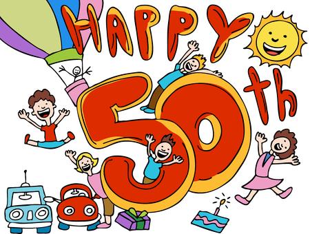 Felice cinquantenario cartoon  Archivio Fotografico - 5596918