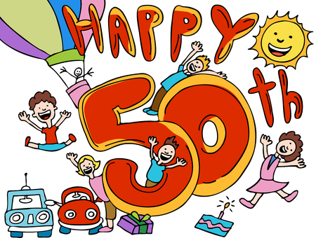 Feliz aniversario 50 dibujos animados Foto de archivo - 5596918