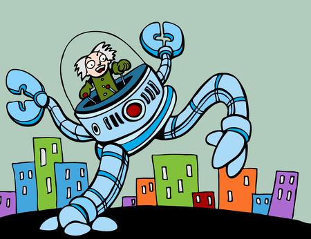 attacking: Mad Scientist Attacking City Illustration