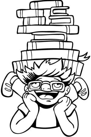 Book Reader Kid line art 일러스트
