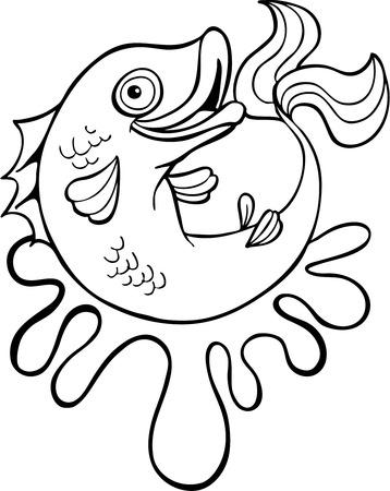 Cartoon Fish Water Splash Art Vector