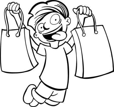 kid shopping: shopping bag kid line art Illustration
