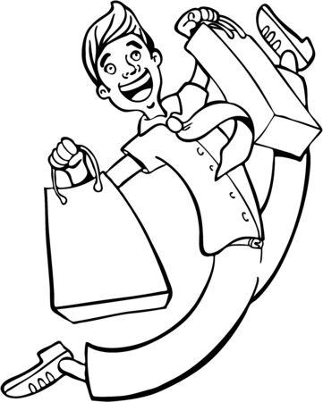 Shopping Spree Man Line Art Ilustração