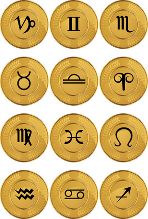 image size: Zodiac Gold Coins vector illustration image scalable to any size.