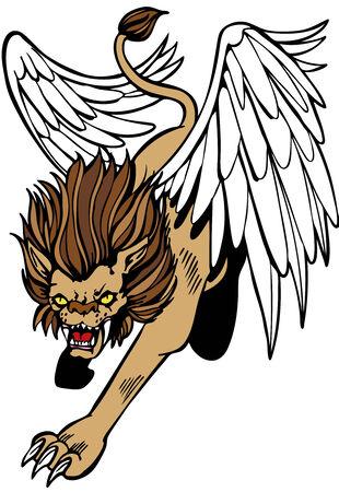 leon alado: Le�n alado m�tica criatura aislado en un fondo blanco. Vectores