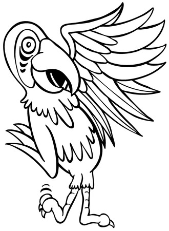 on white: Parrot Cartoon Character isolated on a white background.
