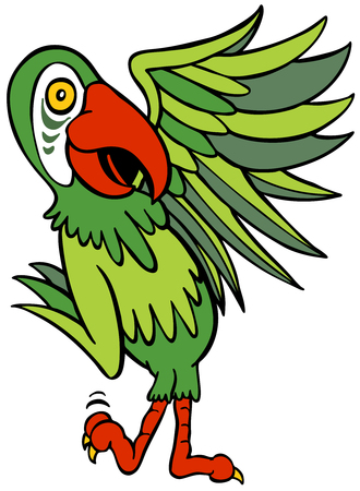Parrot Cartoon Character isolated on a white background.