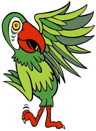 Parrot Cartoon karakter geïsoleerd op een witte achtergrond.