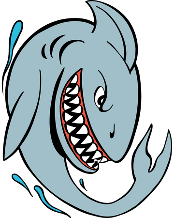 image size: Cartoon of a mean shark vector illustration image scalable to any size.