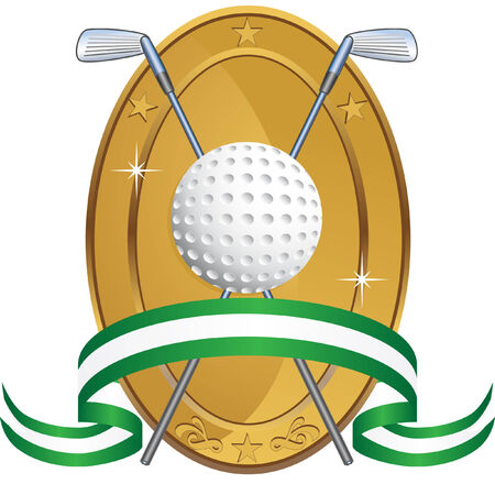 Golf Award Oval isolated on a white background image. Vector