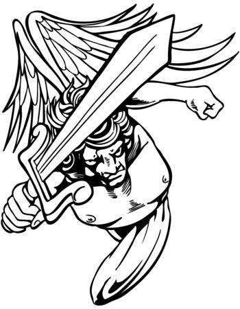 vendicatore: Angry angelo con la spada cerca vendetta.