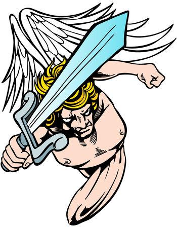 avenger: Angel with sword seeking revenge. Illustration