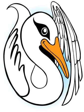 Stylized drawing of a swan floating on the water looking towards the sky. Ilustrace