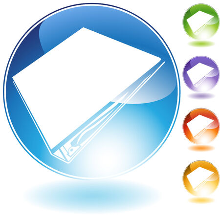 three ring binder icon crystal isolated on a white background. Ilustracja