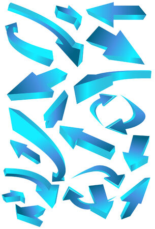 Wavy Arrows isolated on a white background. Vector