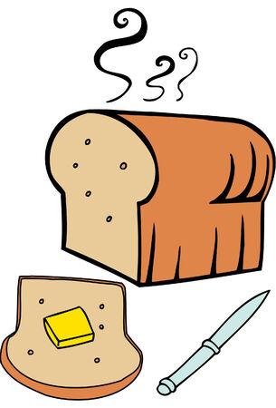 pan con mantequilla: mantequilla del pan aislado en un fondo blanco.