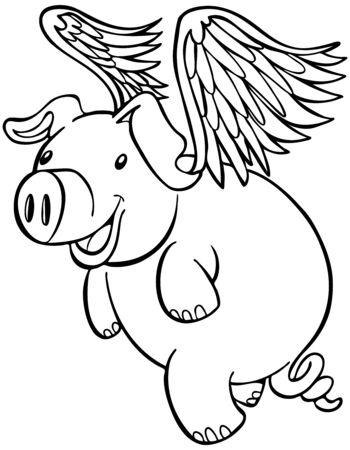 cerdo caricatura: De cerdo con alas volando personaje de dibujos animados aislado en un fondo blanco.