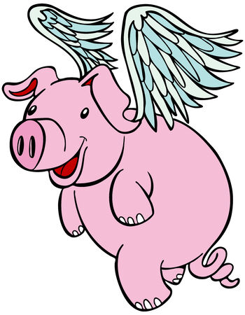 Pig with wings flying cartoon character isolated on a white background. Stock Vector - 5624828