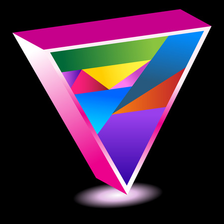 pink triangle isolated on a black background. Vector