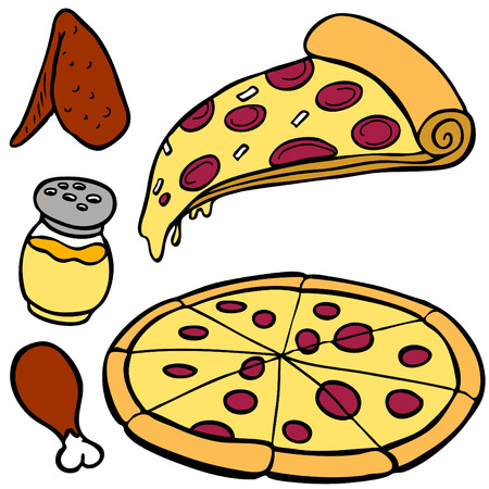 pepperoni pizza: Pizza Food Items isolated on a white background.