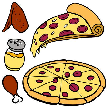 Pizza voedsel items geïsoleerd op een witte achtergrond.